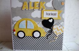 Kartka na Roczek z żółtym autkiem