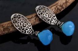 Kolczyki srebrne z niebieskim chalcedonem