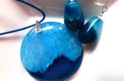 Niebiesko granatowe agaty i srebro, zestaw