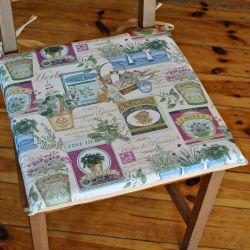 Poduszka na krzesło, siedzisko-Zioła w donicy