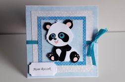 Kartka na Roczek miś panda nebieska