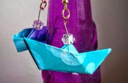 Kolczyki origami niebieskie łódki 2