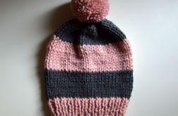 czapka pink-grey