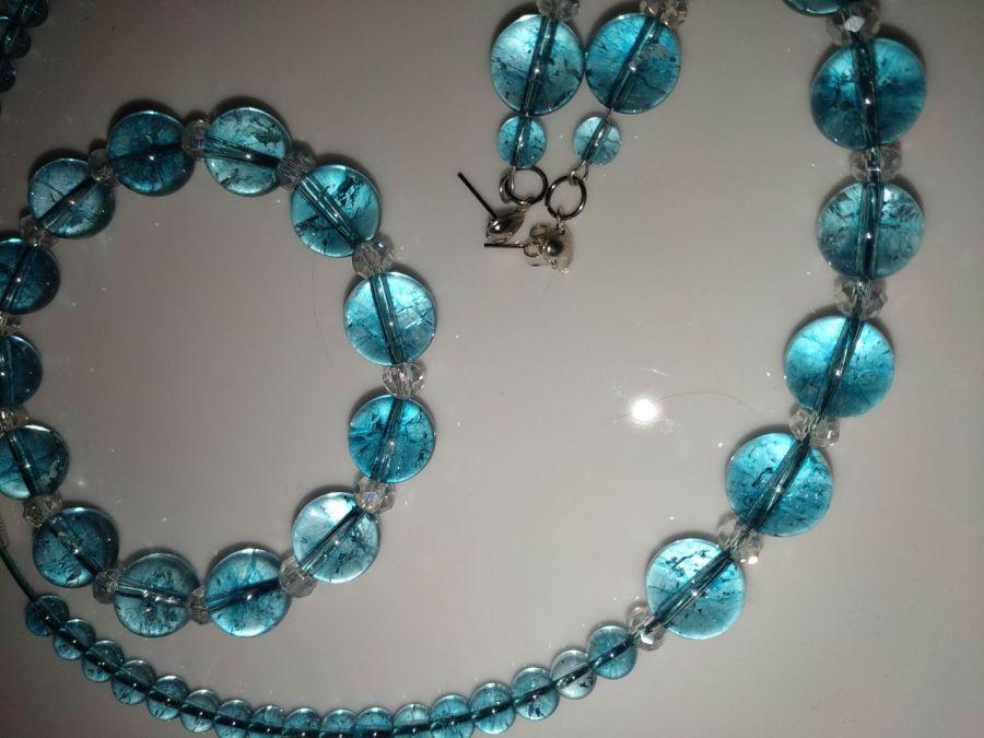 Komplet z naturalnych topazów 3 częściowy - Zestaw biżuterii z naturalnego niebieskiego topazu