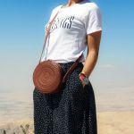 Skórzana torebka okrągła Carmen Mała