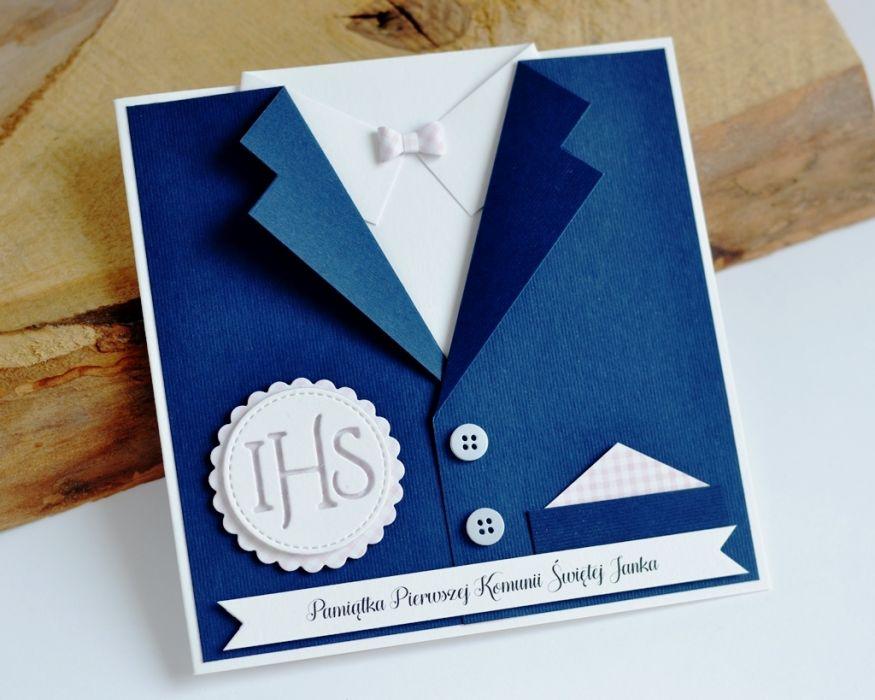 GARNITUREK kartka na komunię dla chłopca - garnitur dla chłopca