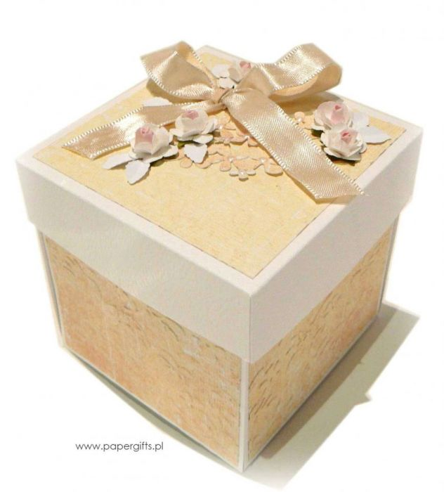Exploding box ślubny żółty - Pudełko na ślub