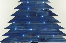 Niebieska, drewniana choinka-50 led
