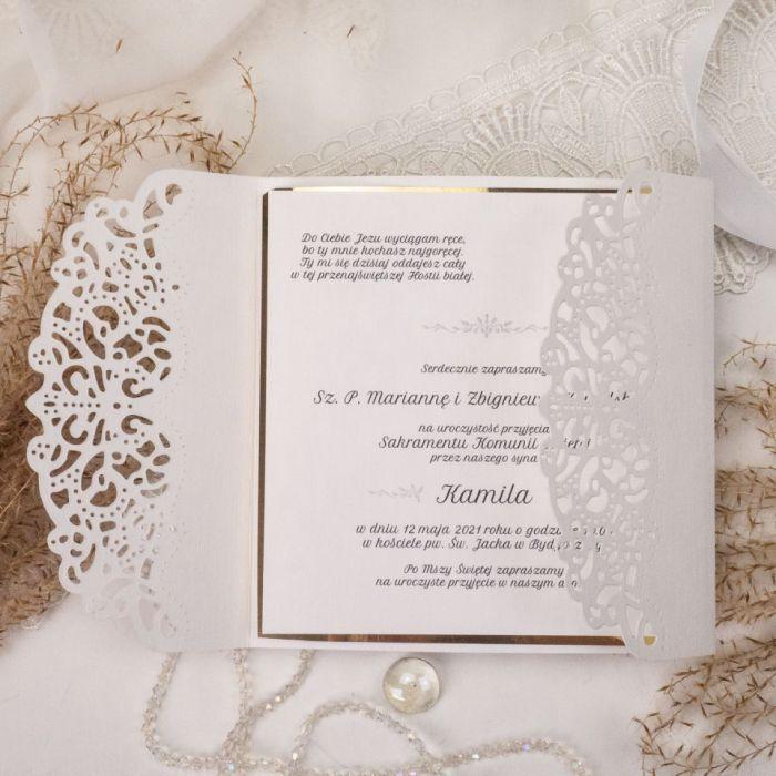 Zaproszenia na komunię, chrzest - wzór 3 - zaproszenia glamour, eleganckie zaproszenia, laserowe zaproszenia