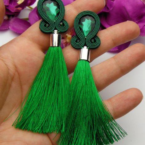 Soutache sutasz kolczyki zielone chwosty