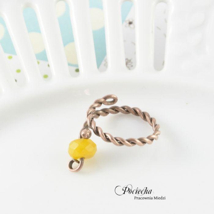 Unikalne Żółty - pierścionek z jadeitem - Pociecha Jewelry RK44