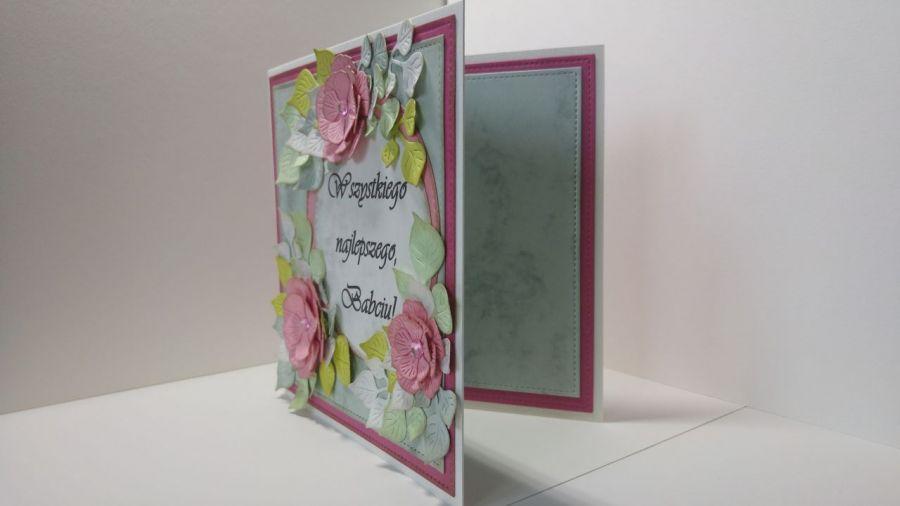Kartka dla babci - różowe kwiatki (1)