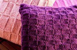 Poduszka z poszewką z włóczki, fiolet, w kratkę