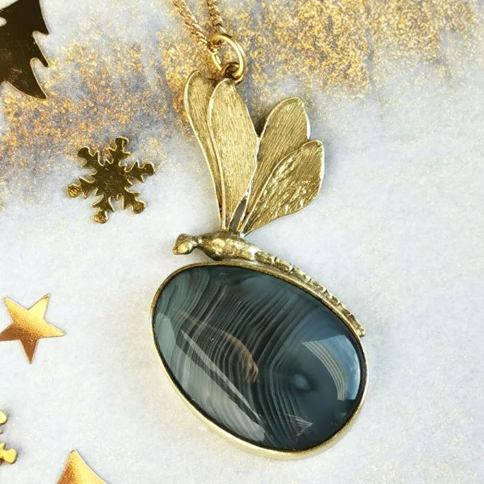 Naszyjnik złota ważka z szarym agatem c218