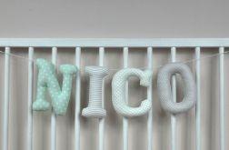Literki z materiału np. Nico 16 cm