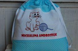 Kot Filemon w kropeczkach - worek na kapcie
