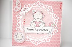Kartka na roczek różowa - dla dziewczynki