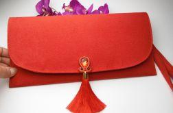 Torebka kopertówka z chwostem, boho czerwona