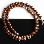 Brązowe perły - naszyjnik - naszyjnik z pereł i srebra