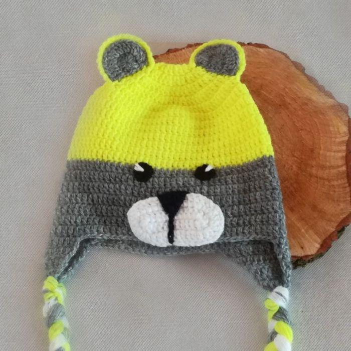 czapka neonowy miś - miś żółto zielony