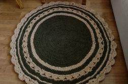 Okrągły dywanik na szydełku- oliwka krem
