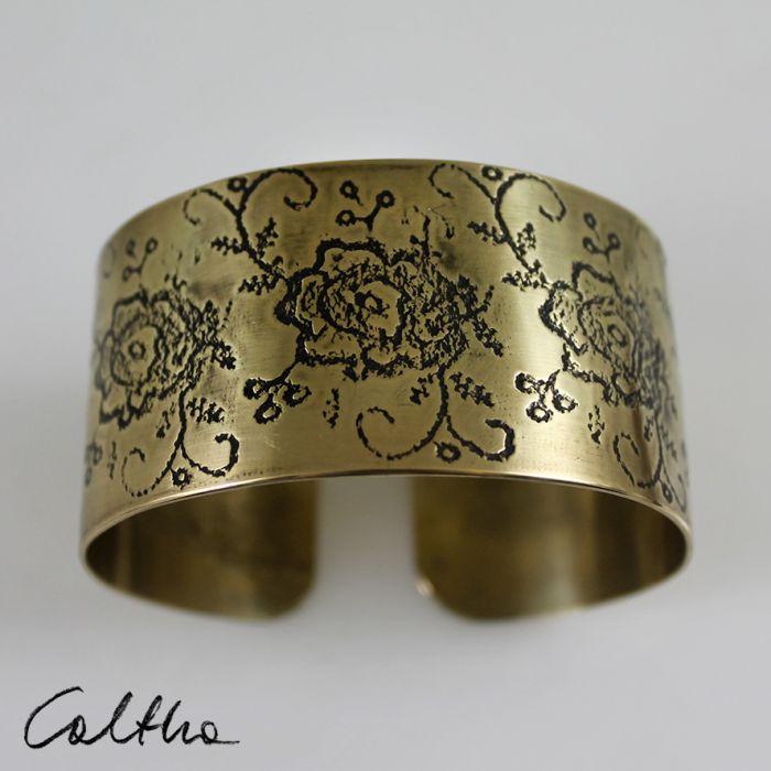 Mosiężna bransoleta - kwiaty 171028-04 - Mosiężna bransoletka
