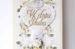 Kartka ślubna z różyczkami 9917