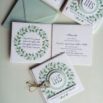Zaproszenia komunijne - pastelowa zieleń - Zielony wianek 4