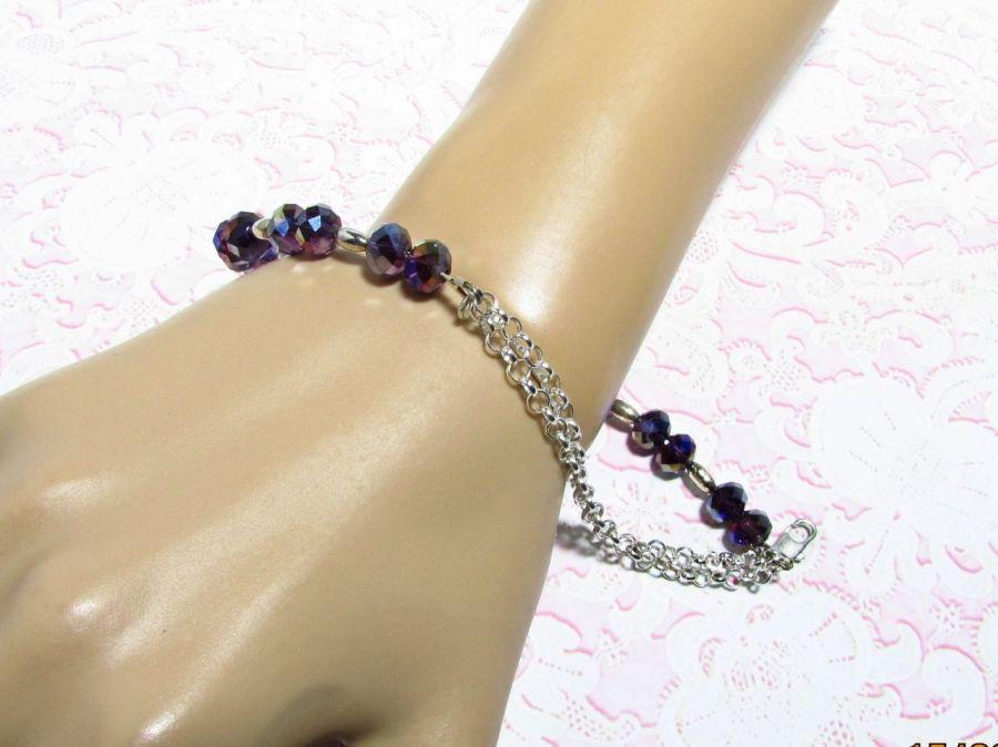 Bransoletka  z  kryształkami  zapinana - bransoletka, z kryształków , zapinana , błyszcząca , ciemna , kryształki ,
