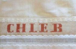 Lniany worek na chleb z wstawką haftowaną