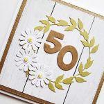 Kartka NA URODZINY - białe kwiatuszki - Kartka urodzinowa z białymi kwiatkami