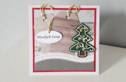Kartka Boże Narodzenie handmade z choinka