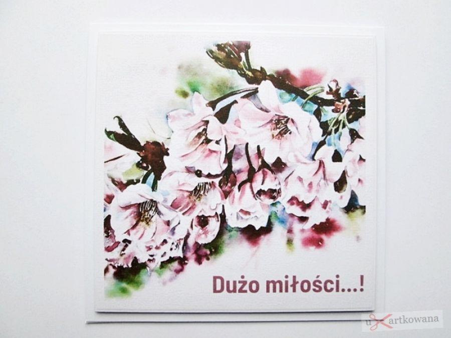 Kartka ŚLUBNA z grafiką - różowe kwiaty - Kartka Ślubna z grafiką - różowe kwiaty