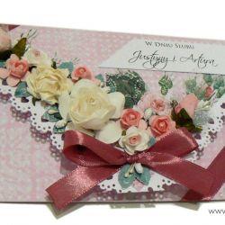 Kartka ślubna różana kopertówka na prezent