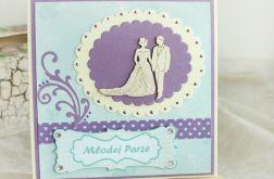 Kartka ślubna z parą młodą turkus i fiolet