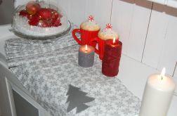 Bieżnik świąteczny szary z choinką