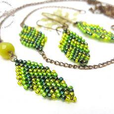 Komplet Zielone Koralikowe Liście - wariant 1