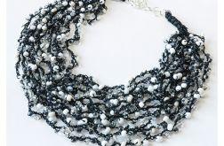 3954 czarno-biały delikatny naszyjnik