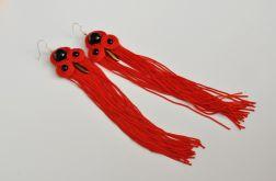 Długie czerwone kolczyki z frędzlami