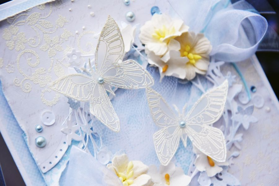 Klimatyczna kartka ślubna z motylkami