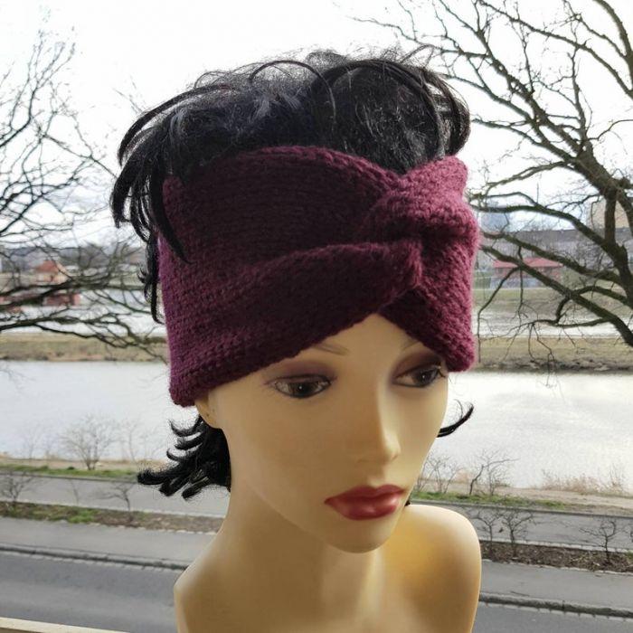 Zimowa opaska retro, burgund - ciepła opaska