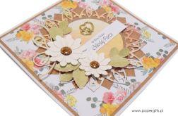 Kartka ślubna białe kwiaty i róże