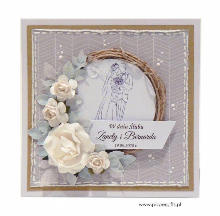 Kartka ślubna szara wianek ręcznie robiona - Kartka na ślub