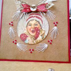 Kartka świąteczna z haftem