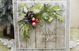 Z szyszkami - kartka bożonarodzeniowa