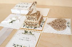 Pamiątka ślubu- exploding box ślubny rustykalny-kartka ślubna