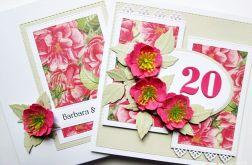 Kartka ROCZNICA ŚLUBU ciemnoróżowe kwiaty