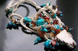 Jaspis w lnianych splotach - naszyjnik