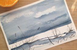 Obraz na ścianę akwarela zima lód noc art