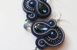 Granatowo-szare kolczyki z kryształkami
